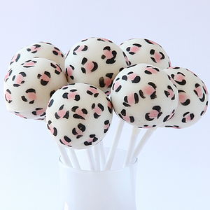 Eight Leopard Print Cake Pops