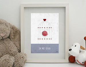 'I'm Tweet On You' Print Unframed - children's room