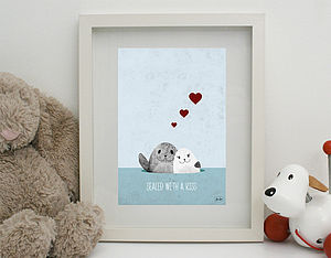 'Sealed With A Kiss' Print Unframed - children's pictures & paintings