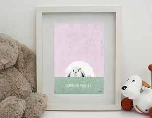'Somebunny Loves You' Print Unframed - nursery pictures & prints