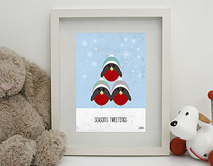 'Season's Tweetings' Print Unframed - children's room