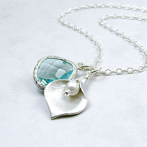 Calla Lily And Jewel Silver Necklace