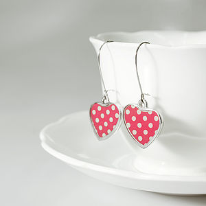 Polka Dot Heart Drop Earrings