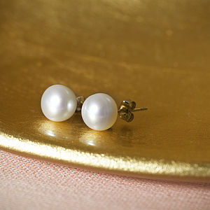 Fresh Water Pearl Sterling Silver Stud Earrings - earrings