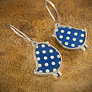 Polka Dot Bird Drop Earrings in Blue