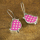 Polka Dot Bird Drop Earrings in Pink