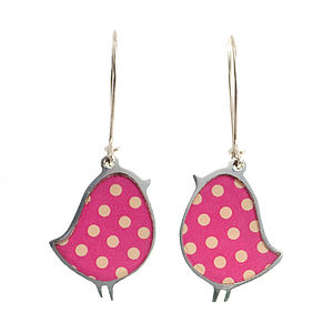 Polka Dot Bird Drop Earrings
