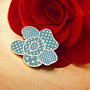 Aqua Polka Dot Flower Brooch