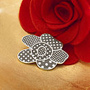 Grey Polka Dot Flower Brooch