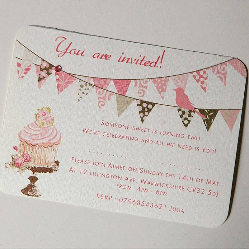 what write on wedding invitation%0A Bunting And Cupcake Wedding Invitations