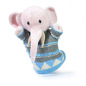 Hand Knitted Organic Cotton Elephant Puppet