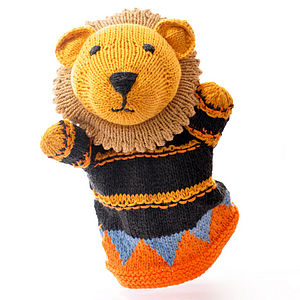 Hand Knitted Organic Cotton Lion Puppet - cuddly toys