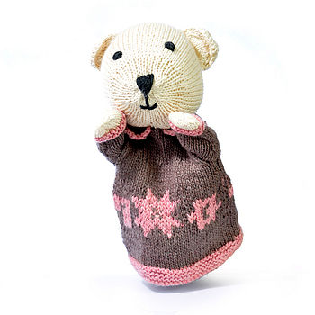 Hand Knitted Organic Cotton Polar Bear Puppet