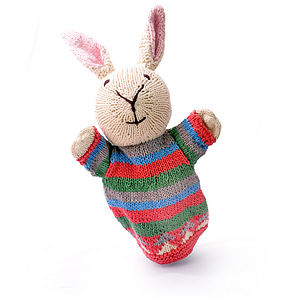 Hand Knitted Organic Cotton Rabbit Puppet - cuddly toys
