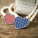 Red and Blue Polka Dot Heart Pearl Necklace
