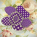 Purple Polka Dot Flower Brooch