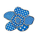 Blue Polka Dot Flower Brooch