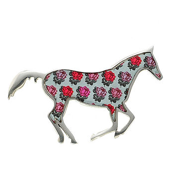 Blue Rose Pattern Horse Brooch