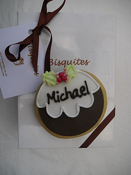 Personalised Christmas Pudding Biscuit