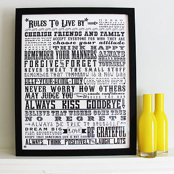 'Rules To Live By' Inspirational Print