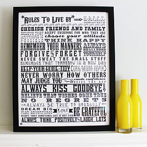 'Rules To Live By' Screen Print - pictures, prints & paintings