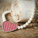 Red Polka Dot Heart Pearl Necklace