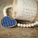 Blue Polka Dot Heart Pearl Necklace