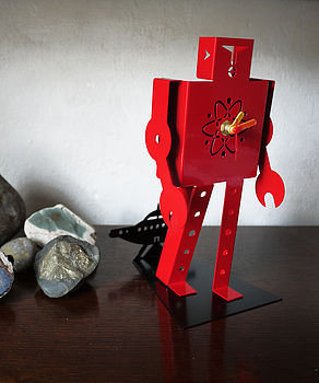Red Laser Robot Clock
