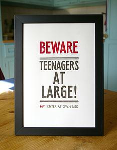 Hand Pressed Print: Beware! Teenagers - winter sale