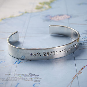 Personalised Silver Location Bangle - men's jewellery