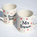 personalised mugs red and pink hearts design
