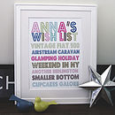 Personalised Wish List Print