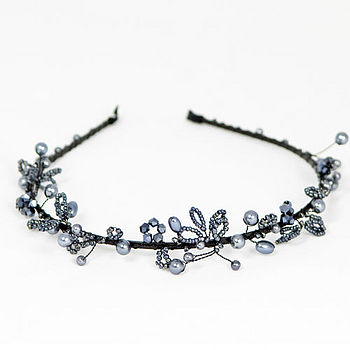 Pearl And Crystal Beaded Tiara - Pewter