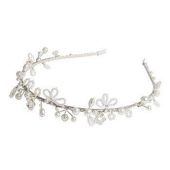 Pearl And Crystal Beaded Tiara - White