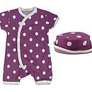 Short Spot Baby Romper And Sun Hat