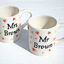 Personalised 'Mr and Mrs' Mugs