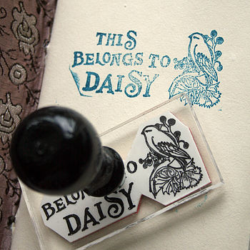 Personalised Bird 'This Belongs To' Stamp