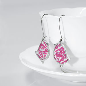 Damask Bird Drop Earrings - earrings