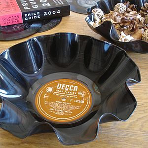 Fluted Vinyl Record Bowls - dining room