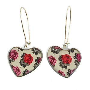 Rose Heart Drop Earrings