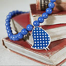 Blue Polka Dot Bird Beaded Necklace