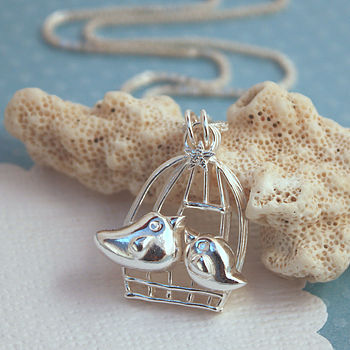 Birds In Birdcage Silver Necklace