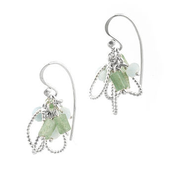 Silver & Semi Precious Mini Cluster Earrings