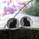 Silver Cat Cufflinks