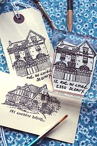 Personalised House Portrait Stamp - inspired by family