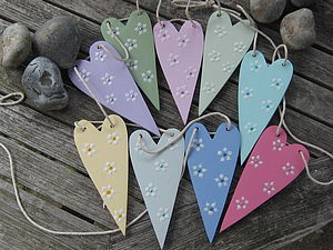 Wooden Heart Bunting - valentine's day decorations