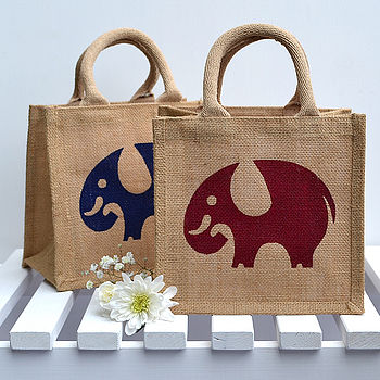 Elephant Lunch Bag in Blue and Red