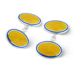 Yellow Enamel Starburst Cufflinks - cufflinks