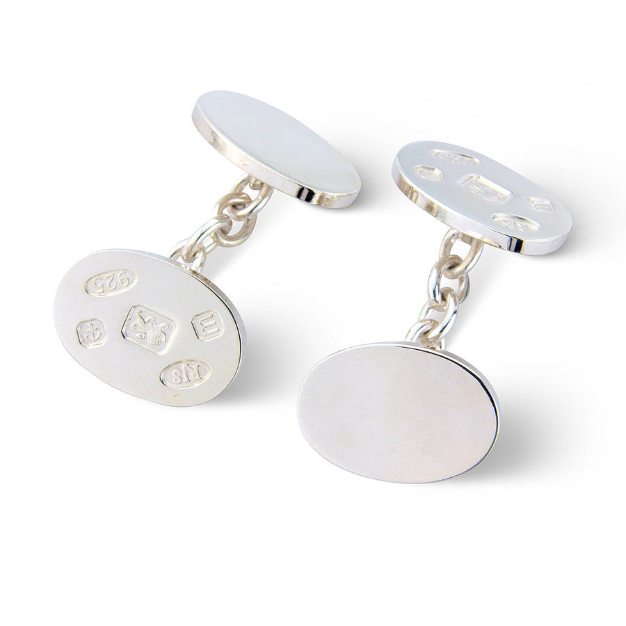 Oval sterling silver cufflinks by argent of london for The sterling