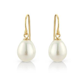 Tear Drop Pearl Earrings With Gold Fill Hooks
